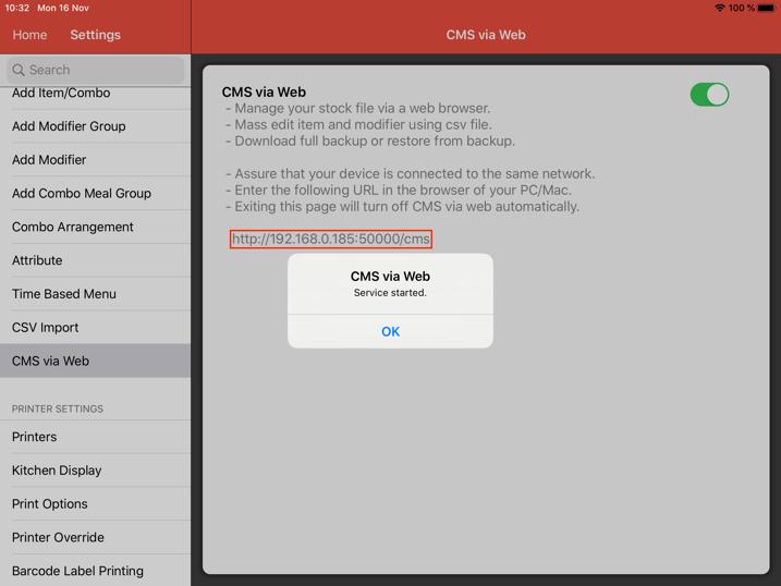 mobipos cms web backup restore ipaddress