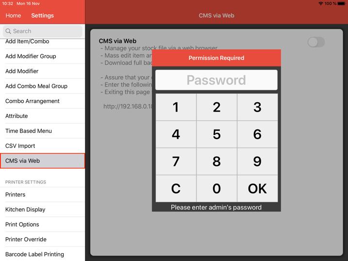mobipos cms backup restore password admin