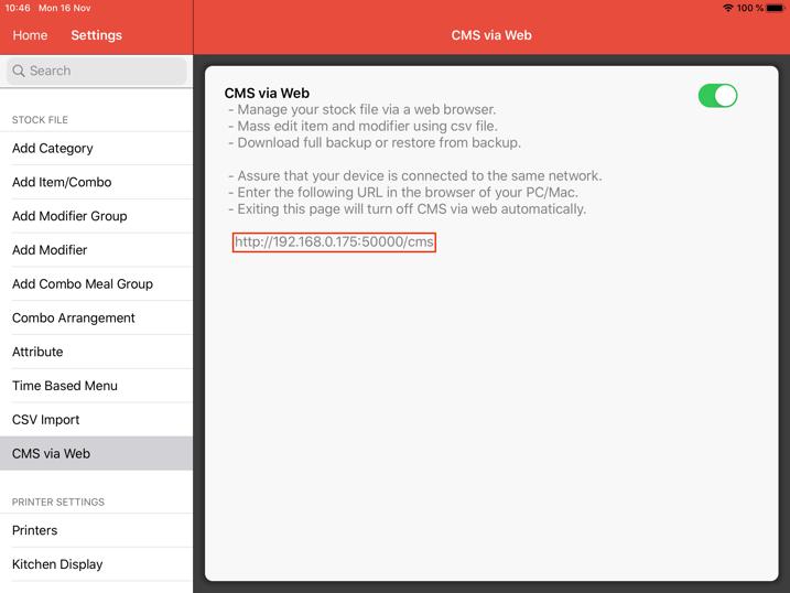 mobipos cms backup restore ipaddress