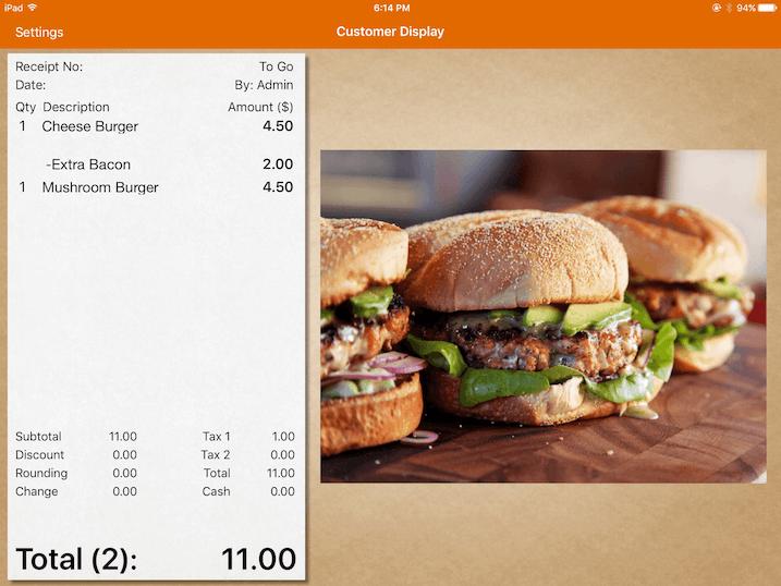 ipad customer display bill
