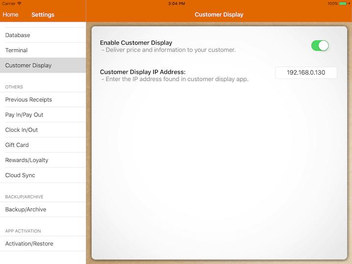 customer display settings