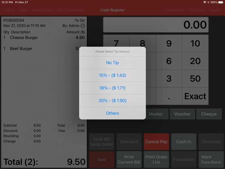 mobipos customer display prompt tips