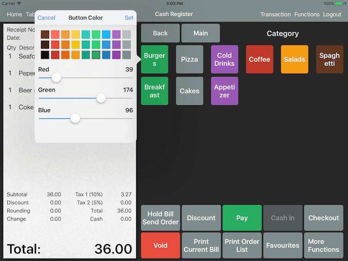 item category button pos color