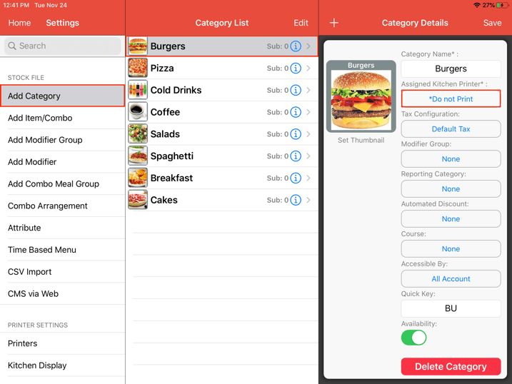 mobipos kitchen display system settings