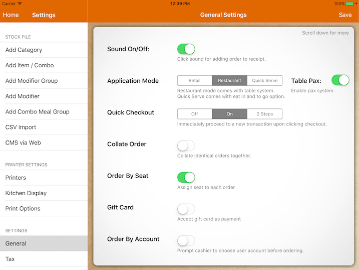 pos system general settings