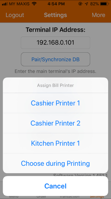 pos system iphone assign bill printer list settings