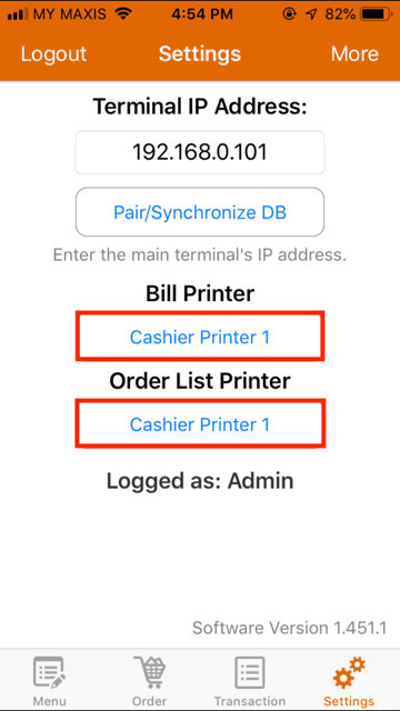 pos system iphone terminal setup settings