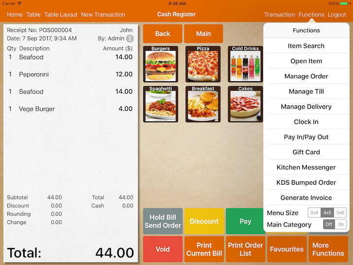 mobipos menu display main category type
