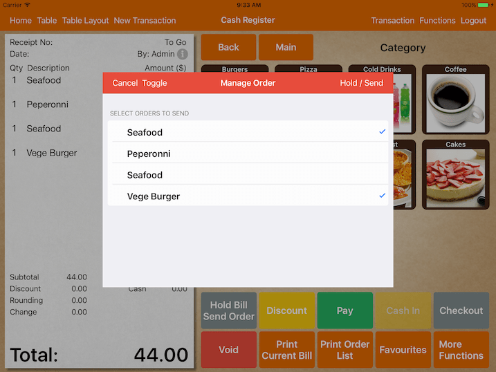 mobi pos system hold manage order