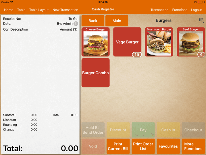 pos system menu gesture burger items settings