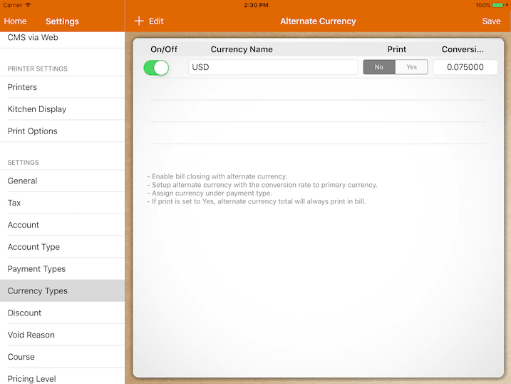 pos system multiple currency payment setup