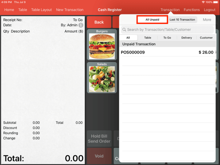 Mobi pos partial payment all unpaid tab