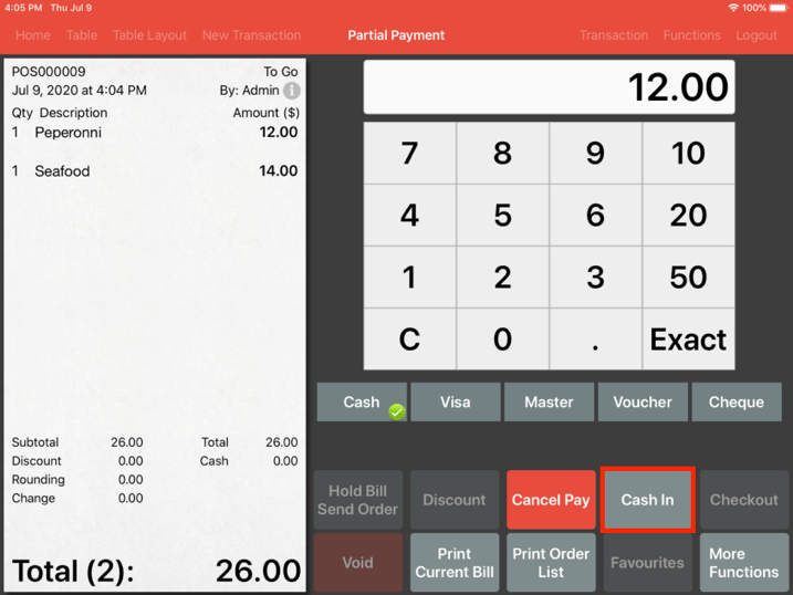 Mobi pos partial payment cash in button
