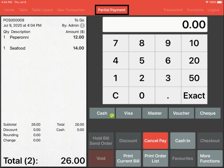 Mobi pos partial payment screen