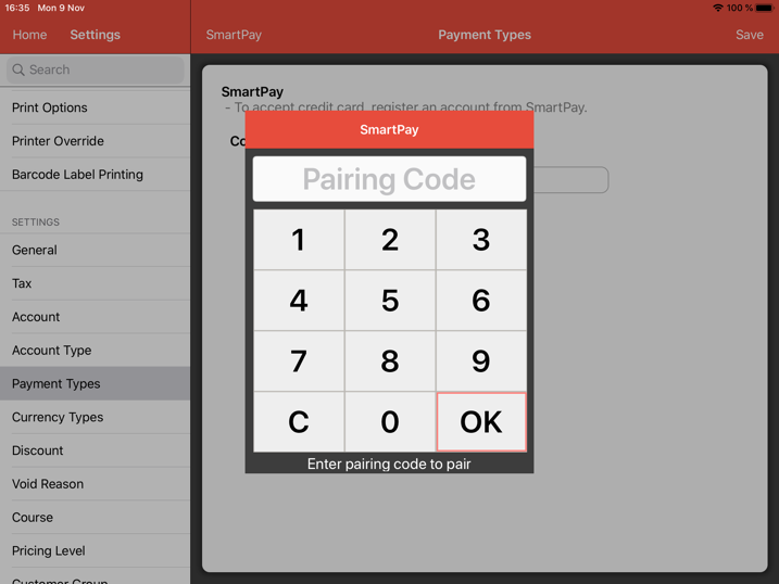 pos system smartpay payment type