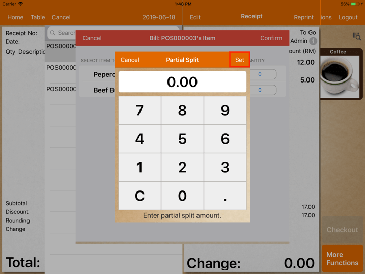 pos system sales refund item refund quantity settings