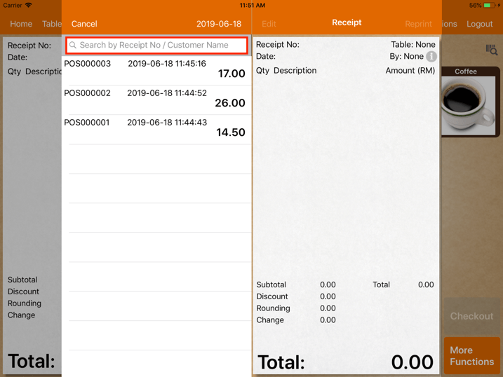 pos system sales refund search transaction settings