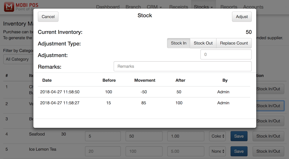 pos system stock in and out settings