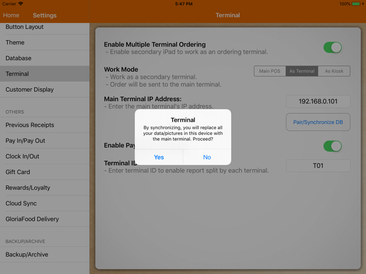pos system terminal pairing alert settings