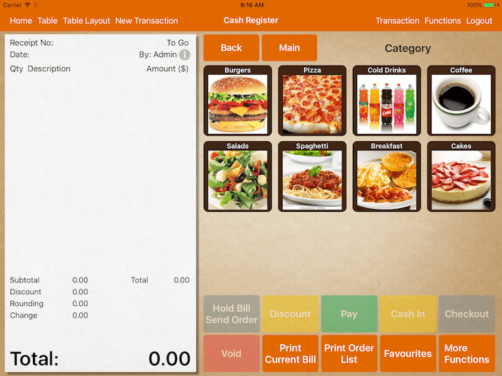 ipad pos system user interface