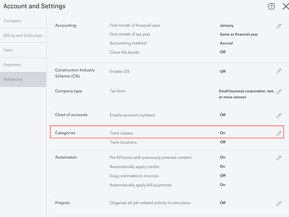 pos system QuickBooks account chart settings