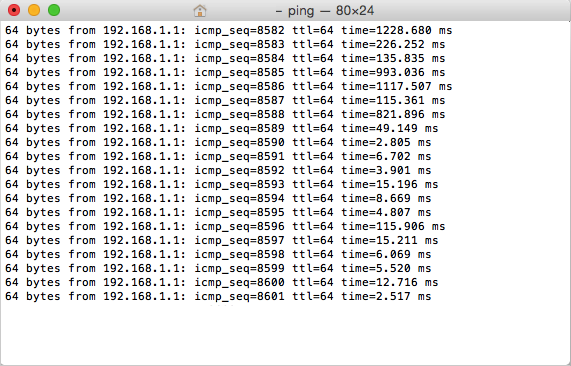ping test high latency
